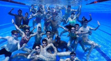 HAC swimmers in a Spanish pool, masterfully captured by Rick Hall, headcoach